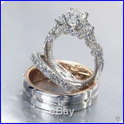 White Gold Over Vintage His And Her Trio Wedding Band Bridal Engagement Ring Set