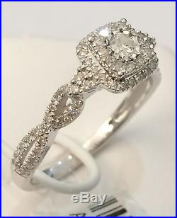 White Square Halo Flower Diamond VIntage Antique Engagment Bridal Ring