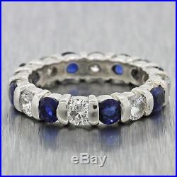 Womens Vintage Estate Platinum 1.2ct Diamond Sapphire Eternity Wedding Band Ring