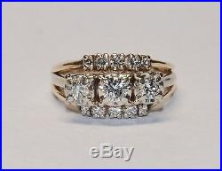 Wow! 14K 1ct Diamond Wedding Set Triple Band Engagement Ring Round Cut Vintage