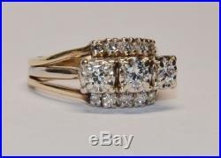 Wow 14K 1ct Diamond Wedding Set Triple Band Engagement Ring Round
