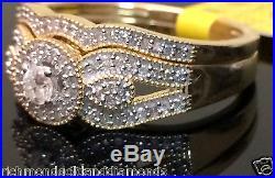 Yellow Gold Halo Antique Vintage Style Round Diamonds Wedding Bridal Set Ring