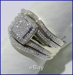 Yellow Gold Pave Diamonds Vintage Bridal Wedding Set Ring Engagement 3 pieces