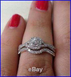 Yellow Gold Square Halo Diamond Bypass Vintage Antique Bridal Set