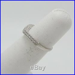 Zales 1/4CT Vintage Style Diamond Contour Wedding Band Wrap Ring 14K White Gold