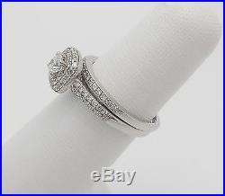 Zales 3/4CT Vintage Style Diamond Engagement Wedding Ring Set 14K White Gold
