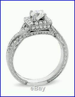 Zales 78CT Diamond Engagement Wedding Ring Vintage Set 14K White
